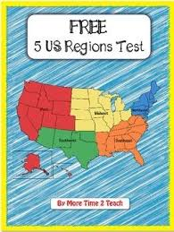 free 5 us regions map test social studies history u s