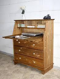 Schreibtisch Kiefer Sekretär 92x110x42cm 3 Schubladen 1 Klappe Kiefer Massiv