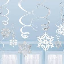 hanging twirling snowflake decorations metallic foil winter