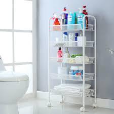 Bathroom Storage Carts Langria 5 Tier Metal Mesh Rolling Cart For Kitchen Pantry Office