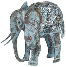 elephant metal solar accent eclectic garden statues and yard