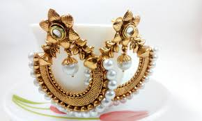 chandbali earrings metallic chandbali earrings with pearl