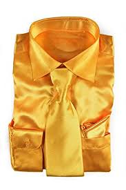 classy men u0027s satin shiny yellow gold shirt set matching tie and