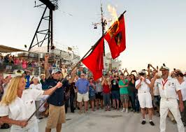 Burning Red Flag Florida Keys Group Burns Hurricane Flags To Mark Storm Season U0027s