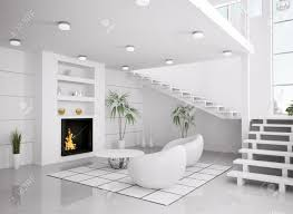 modern white interior of living room with fireplace and staircase