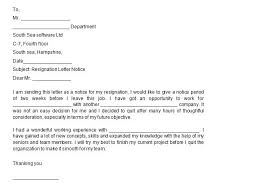 40 two weeks notice letters u0026 resignation letter templates u2013 free