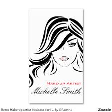 retro make up artist business card design hair and beauty salon