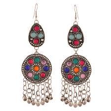 dangler earrings zephyrr german silver afghani multi color strand dangler