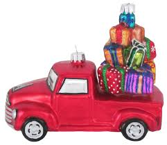 Vintage Ford Truck Fabric - vintage red pickup truck loaded with gifts christmas holiday glass