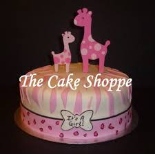 pink giraffe baby shower cake cake by the cake shoppe cakesdecor
