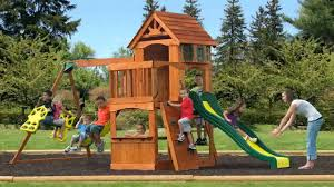 backyard discovery atlantis all cedar wood playset swing set youtube