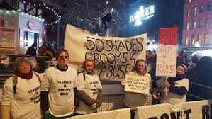 fifty shades of grey movie zamunda domestic violence protesters target fifty shades darker premiere