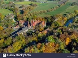 aerial view autumn leaves on landschulheim castle heessen