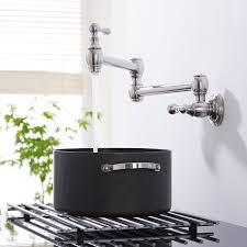 chrome wall mounted retractable pot filler faucet