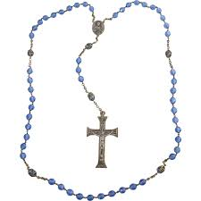 italian rosary vintage italian blue faceted glass rosary w silver