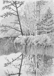 drawn water landscape drawing pencil and in color drawn water