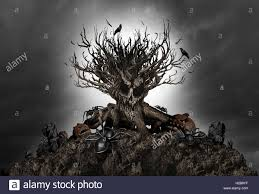 haunted creepy tree background as an growth