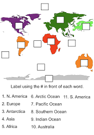 World Map Of Continents And Oceans To Label by Technology Tailgate Learn Continents App