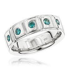 Blue Diamond Wedding Rings by 14k Gold 5 Blue Diamond Wedding Band 0 3ct Comfort Fit Five Stone Ring