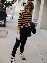 casual thanksgiving day black trousers black heels and