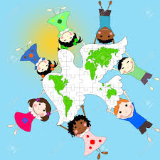 children of different races with a dove and a map of the world