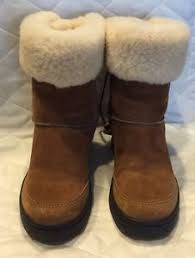 s ugg australia brown leather boots ugg australia brown leather sheepskin cuff boots f80081 size w6 ebay