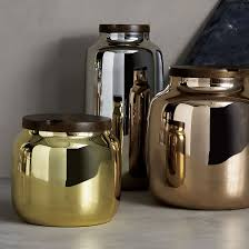 chic design ideas for a grey kitchen view in gallery metallic canisters from cb2