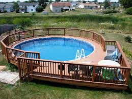 swiming pools above ground pool decks designs with hand rails also