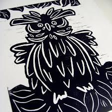 owl lino print by knockout notonthehighstreet com