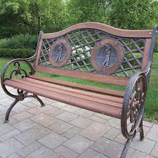iron park benches oakland living double golfer cast iron and wood park bench