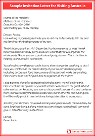 sample invitation letter for visiting australia to a friend