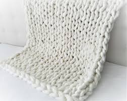 Knitting Home Decor Chunky Knit Vegan Polyester And Acrylic Blanket Super Soft Throw