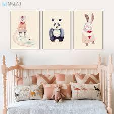 rabbit home decor vintage retro kawaii animal panda rabbit poster nordic kids baby