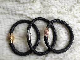 gold clasp leather bracelet images Viya jewelry leather bracelet with gold clasp and 24 carat gold jpg