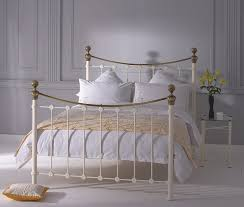 Brass Double Bed Frame Obc Selkirk 4ft Small Double Glossy Ivory Metal Bed Frame By