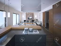 cuisine en forme de l idée d appartements du studio aux couleurs marron et blanc gris