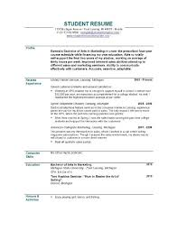 Template Student Resume Example Of Resume For College Student Resumes For College