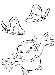 curious george coloring pages playing with butterflies cartoon