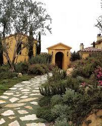 flagstone driveway landscape mediterranean with stone exterior