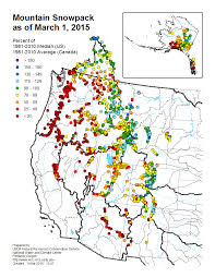 Map Of Western Us Mountain Snowpack Map Western Us