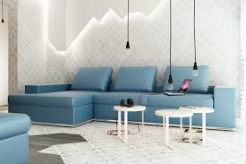 Blue Floor L Blue L Shaped Sofa Exposed Bulb Lighting Feature Interior Design