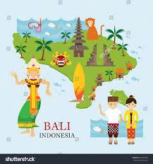 bali indonesia map bali indonesia map travel attraction landmarks stock vector