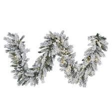 shop vickerman pre lit 9 ft l snow ridge garland with white led