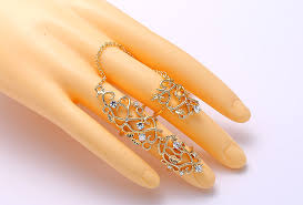 double rings jewelry images Fashion trendy joint rings crystal jewelry vintage gold jewelry jpg