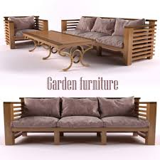 Low Patio Furniture - garden furniture 3d model rigged cgtrader