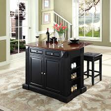 Distressed Black Kitchen Island Home Styles Monarch 3 Piece Granite Top Kitchen Island U0026 Stool Set