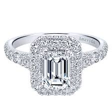 engagement rings cut images Dottie 18k white gold emerald cut double halo engagement ring jpg