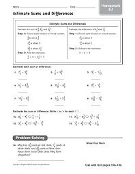 5th grade estimating sums and differences worksheets 5th grade