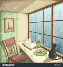 vector illustration cozy room rain outside stock vector 436192834