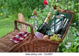 Wine Picnic Basket Vintage Wicker Picnic Hamper Or Basket With Food Such As Bottle Of
